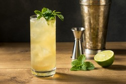 Refreshing Mint GinGin Mule Cocktail with LIme and Ginger Beer