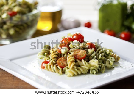 Refreshing pesto pasta salad