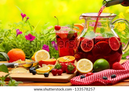 Refreshing sangria (punch) with fruits #133578257