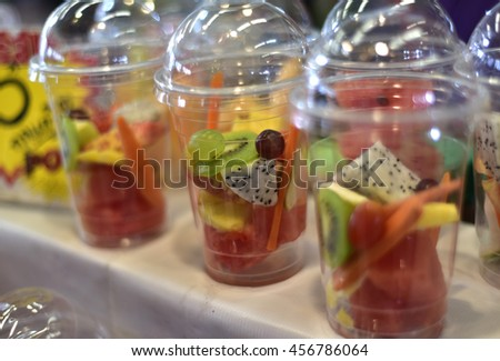 refreshing summer drink Smoothies with strawberry cucumber lime in glasses.  in Local Market Thailand #456786064
