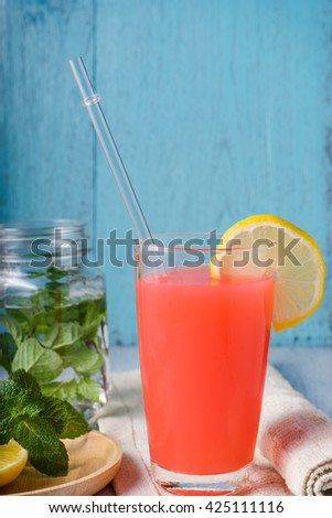 Refreshing summer drink with fruit punch in glasses. summer drink. fruit punch. fruit cocktail.  #425111116