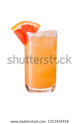Refreshing Tequila Paloma Cocktail on White with a Clipping Path Foto stock ©