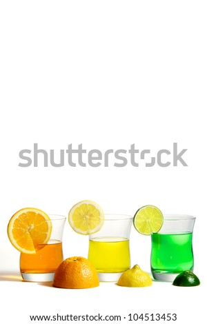 Refreshing three color fruit drinks, Lemon, Lime, and Orange.