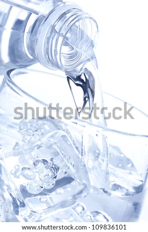 Refreshing water in a bottle against a background