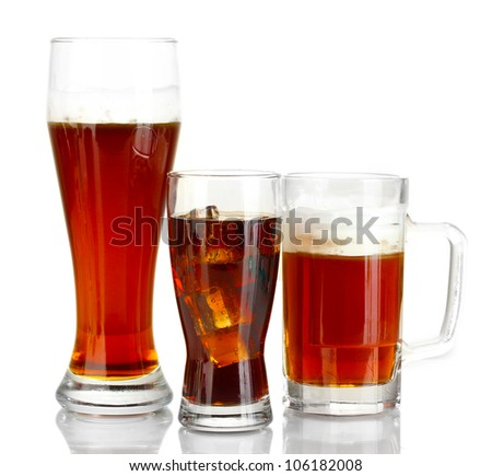 refreshments - beer, cola and kvass isolated on white background
