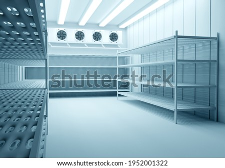 Refrigeration Chamber for Food Storage. Metal Shelves and Racks for String Frozen Foods. Food Freezing Shop. Selective Storage System. Cold Warehouse. Air conditioning on a warehouse wall. Stock photo ©