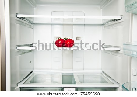 Refrigerator close up with tomatoes