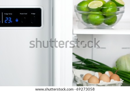 Refrigerator full with some kinds of food - fruits, vegetable and eggs