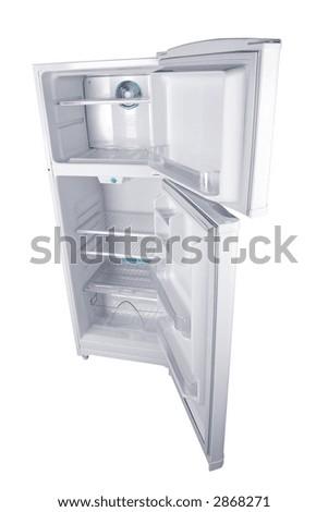 Refrigerator in white background