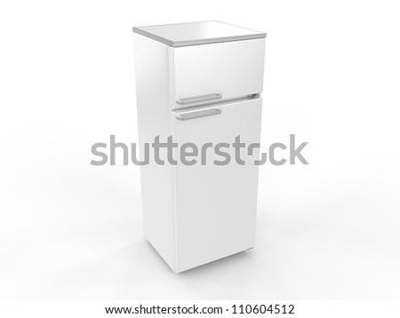 Refrigerator isolated on white background, 3D image