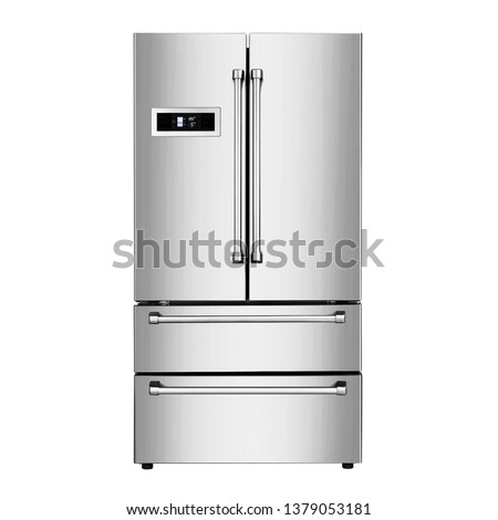Refrigerator Isolated on White Background. Front View of Stainless Steel Side by Side Four Door Fridge Freezer. Kitchen and Domestic Major Appliances. Full Frost Free Bottom Fridge