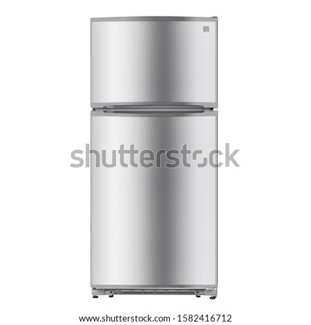 Refrigerator Isolated on White Background. Top Mount Fridge Freezer. Electric Kitchen and  Domestic Major Appliances. Front View of Stainless Steel Two Door Top-Freezer Fridge Freezer