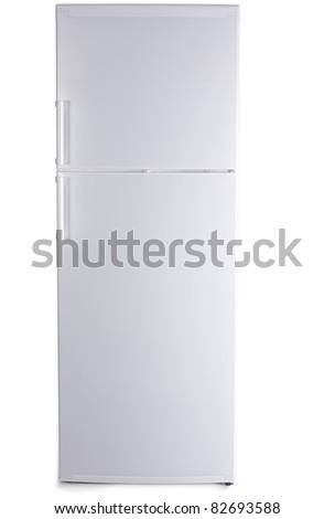 refrigerator on isolated background - stock photo