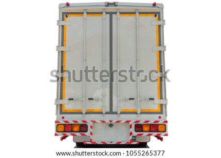 Refrigerator truck back view on isolate white background.