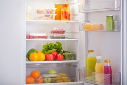 refrigerator with different healthy food