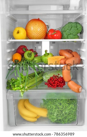 Refrigerator with fresh products, closeup #786356989