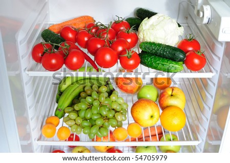 Refrigerator with fruit and vegetables #54705979