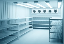 Refrigerators compartment. Warehouse with shelves for food storage. Grocery warehouse with air conditioning Freezing of products. Stelms with shelves. Refrigeration equipment. Industrial refrigerator.