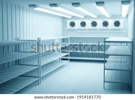 Refrigerators compartment. Warehouse with shelves for food storage. Grocery warehouse with air conditioning Freezing of products. Stelms with shelves. Refrigeration equipment. Industrial refrigerator. Stock photo ©
