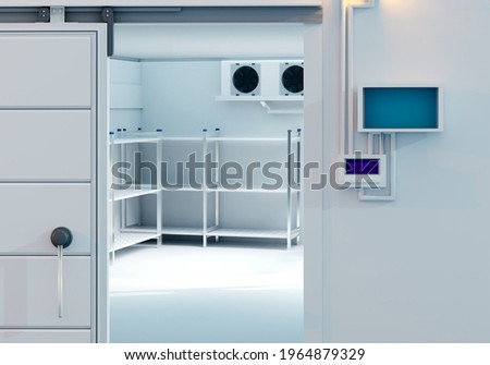 Refrigerators compartment. Warehouse with shelves for food storage. Grocery warehouse with air conditioning. Freezing of products. Stelms with shelves. Refrigeration equipment. Industrial refrigerator Stock photo ©