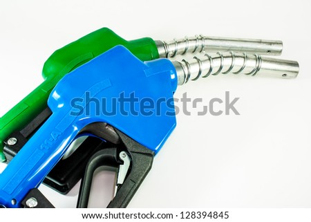 Refueling hose blue and green on white background