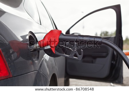 Refueling nozzle in the tank car at a fuel filling column. Summer day. Black car
