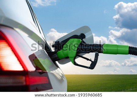 Refueling the car with biofuel Photo stock ©