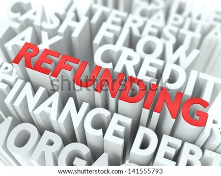 Refunding - Wordcloud Concept. The Word in Red Color, Surrounded by a Cloud of Words Gray.