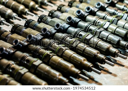 Refurbished fuel pump injectors on display remanufactured fuel injectors clean like new ones