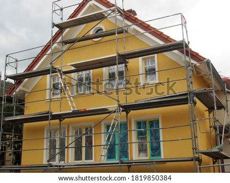 Refurbishment of old buildings: Scaffolded old building, NRW Photo stock ©