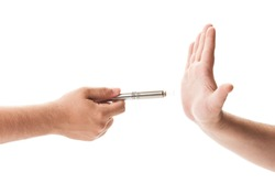 Refusing an electronic cigarette concept on white background