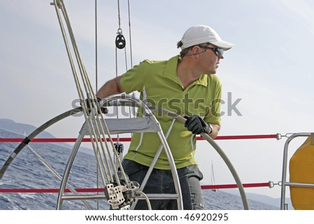 Regatta sailing action in Mediterranean sea in Croatia. - stock photo
