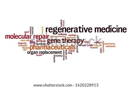 Regenerative medicine word cloud. Typography. Stock foto ©