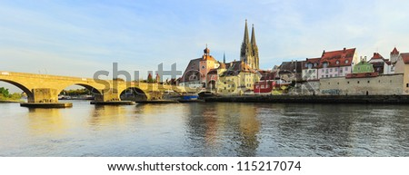 Regensburg at sunset, Germany. Medieval city center is UNESCO World Heritage Site - stock photo