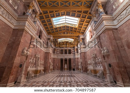 Regensburg, Germany - August 05, 2017: Interior of the Walhalla Memoiral, hall of fame that honors laudable and distinguished people in German history.