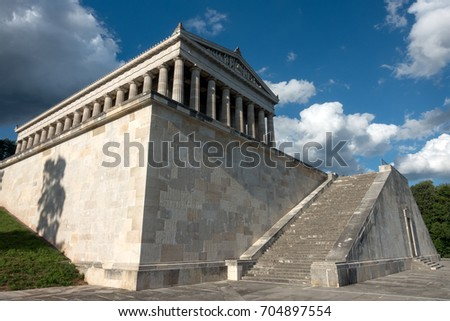 Regensburg, Germany - August 05, 2017: Sunny weather at the Walhalla memorial, hall of fame that honors laudable and distinguished people in German history.