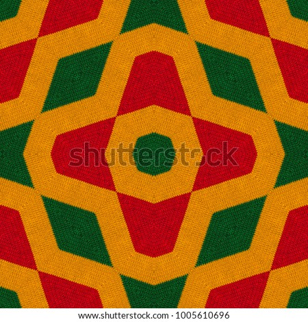 Reggae colors crochet knitted style background, top view. Collage with mirror reflection with rhombus. Seamless kaleidoscope montage for cushion, blanket, plaid, t-shirt graphics, cloth, poster #1005610696
