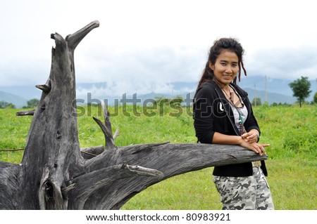 Regge Woman Field Asia Thailand - stock photo