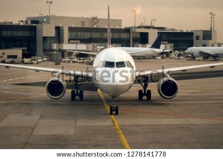 Regional airliner in the Frankfurt am Main airport