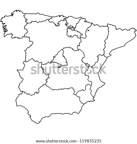 regions of spain on administration map with borders
