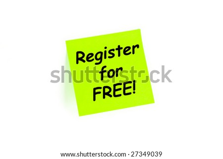 Register for FREE sign up concept on a post-it note isolated on white