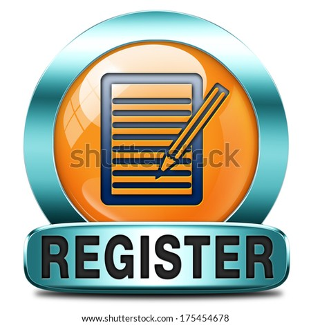 register here orange sign or icon. Membership registration button or sticker.  - stock photo