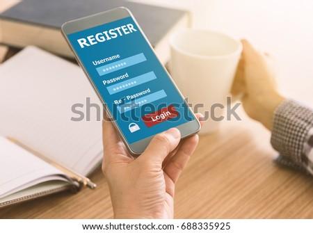 Register Membership Application on mobile smartphone, Business Concept. #688335925