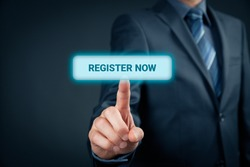 Register now concept. Businessman click on virtual button with text register now.
