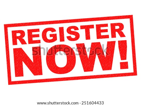 REGISTER NOW! red Rubber Stamp over a white background. Сток-фото ©