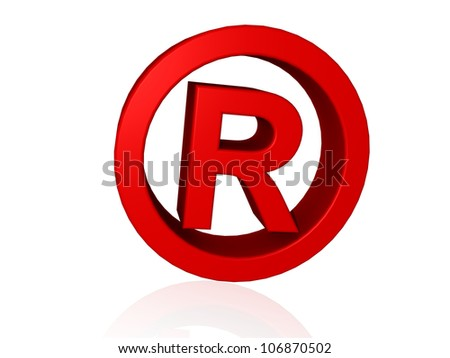 Registered Trade Mark symbol in 3d