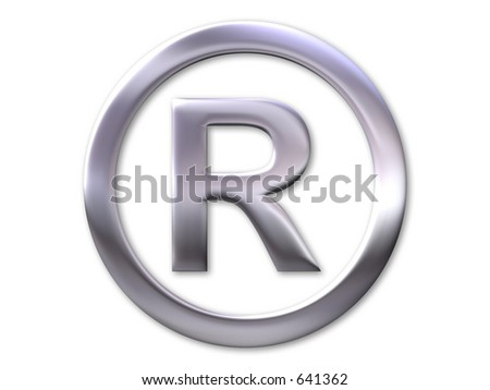 Registered trade mark symbol - silver bevel and white background