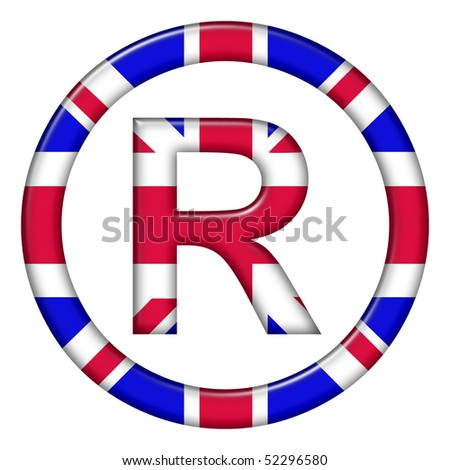 Registered trademark symbol showing UK flag