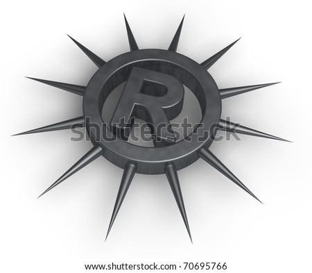 registered trademark symbol with spikes - 3d illustration