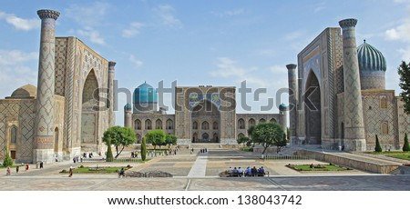 Registon Place, the most famous attraction of Samarkand and one of the world-known places along the silk road. Uzbekistan, Central Asia.